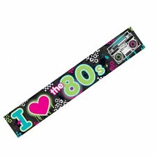 I Love the 80's 25ft Long Foil Banner  - 1980's Party or Event - New & Sealed