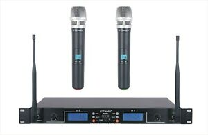 GTD Audio 2x100 adjustable Frequency UHF Wireless Microphone Mic System New 290