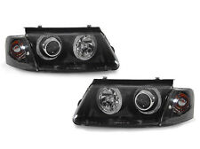 DEPO 98-00 VW Passat B5 Black Angel Eye Projector Headlight + Clear Corner Light