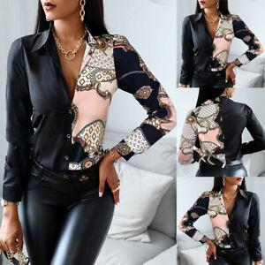 UK Womens Vintage Print V Neck Blouse Ladies OL Long Sleeve Buttons Shirt Tops