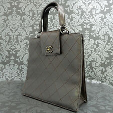 Rise-on Vintage CHANEL Leather Dark Brown Handbag Purse #1613