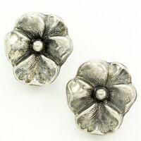Vintage Sterling Silver PANSY FLOWER EARRINGS Screw Post Floral Estate