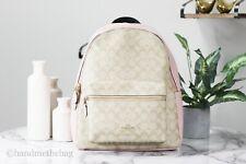 Coach F58314 Coated Canvas Leather Large Khaki Blossom Charlie Backpack BookBag