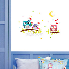 Pop Owl Tree Cartoon Animal Wall Stickers for Kids Rooms Home Decor Decal UK
