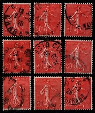 9 SEMEUSES Lignées 80c Rouge, Oblitérés = Cote 81 € / Lot Timbres France n°203