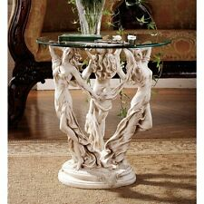 KY4621- The 3 Muses of Ancient Greece Glass Top Sculptural Table!