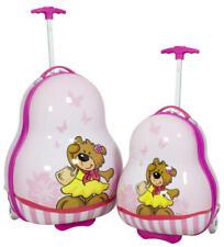 Reise Koffer Trolley Kinder Hartschale aus Polycarbonat Bär pink Set oder Einzel
