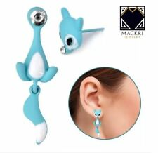 MACKRI Animal Earrings Fox Stainless Steel Stud Earrings TURQUOISE