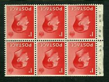 More details for gb 1936 edward viii booklet pane of 6x 1d stamps - inverted sg458aw mnh - dg171