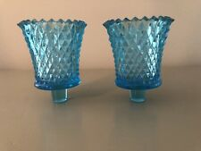 New listing 2 Beautiful Blue Vintage Home Interiors Diamond Cut Votive Cups Candle Holders