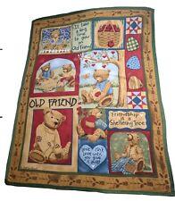Teresa Kogut Bears Old Friend Fleece Throw Blanket (2004) 47x62 inch Country