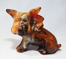 Caramel Slag Glass Signed Marked Scottie Scottish Terrier Dog Figurine