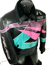 Vtg 80-90s POLARIS Snowmobile Leather Motorcycle Coat Hein Gericke RACING Jacket