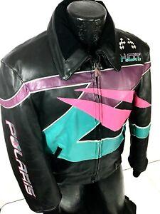 Vtg 80-90s POLARIS Snowmobile Leather Motorcycle Coat Hein Gericke RACING Jacket