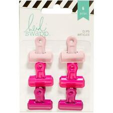 Pink Bulldog Clips; Set of 6 by Heidi Swapp - For Scrapbooks, Mixed Media, ETC