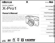 FujiFilm FinePix X-Pro1 Digital Camera Owner's  Manual User Guide Instruction