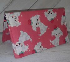 Maltese Dog Fabric Checkbook Cover WalletDocument Coupon Holder USA Handmade