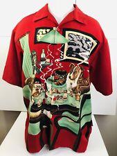 DRAGONFLY Red/Green/Black/Brown DOGS PLAYING POKER Vegas Gambling Mens XL Shirt