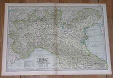 1897 ORIGINAL ANTIQUE MAP OF NORTHERN ITALY / MILAN TURIN VENICE LOMBARDY