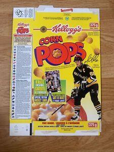 1996 Mario Lemieux Pittsburgh Penquins Hockey Kellogg's Corn Pops cereal box
