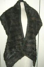 "Vintage Brown Mink Shawl Scarf Wrap Collar Cape Long & Wide ~ 54""-78"" x 12"""