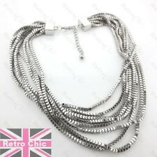 BIG SLINKY COLLAR choker NECKLACE silver fashion MULTISTRAND snake chains drape
