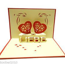 POP UP Karte *Liebes Paar HERZEN* 3D Klappkarte Sitz Bank Valentinstag  Hochzeit