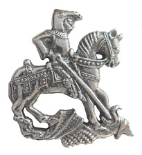St George & The Dragon Pin Badge Made in Polished English Pewter