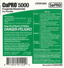 CUPRO 5000 DF 3lbs. Copper Hydroxide  61.3% Fungicide/Bactericide Kocide