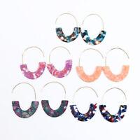 Tortoise shell Moon Hoop Earrings for Women Threader Earrings Boutique Jewelry