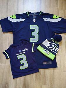 Russell Wilson Seattle Seahawks football jerseys and beanie hat