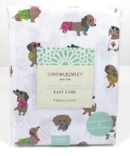 "Cynthia Rowley Dachshund Wiener Dog Indoor Outdoor Tablecloth 60"" x 84"" New"