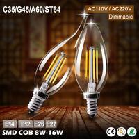 E27/E14/E12/E26 8-16W DIMMABLE EDISON AMPOULE À FILAMENT LED GLOBE/BOUGIE LAMPE