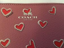 Nwt 2016 Coach Heart Print Leather Canvas Corner Zip Wallet Pink Heart Wristlet
