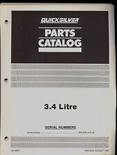 1986 QUICKSILVER / MERCURY / MARINER OUTBOARD 3.4 LITRE PARTS MANUAL