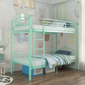Metal Twin Over Twin Bunk Bed Convertible Into 2 Individual Bed Frame Mint Green