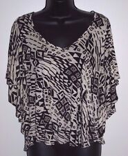 H.I.P. Size Small Womens Black and White Angel Sleeve Top