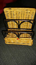 NICE VINTAGE RETRO ? WICKER AND METAL LETTER RACK