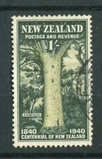 New Zealand KGVI 1940 1s sage green & deep green SG625 used