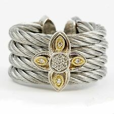 Flexible Cuff Stainless Steel 18k Yellow Gold Silver Cable Diamond Ring Jewelry