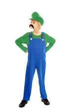 CHILD SUPER WORKMAN MARIO HALLOWEEN FANCY DRESS COSTUME HERO LUIGI REDUCED disco
