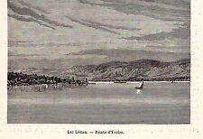 74 POINTE DYVOIRE LAC LEMAN BATEAU VAPEUR STEAMER BOAT IMAGE 1880 PRINT
