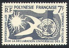French Polynesia 1958 Human Rights/Dove/Sun/UN/Animation/Birds 1v (n36887)