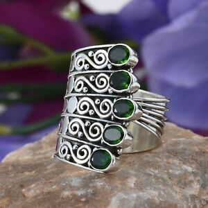 Russian Diopside Sterling Silver Size 10