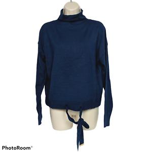 NWT Michael Michael Kors Womens Turtleneck Sweater Large Navy Blue Drawstring
