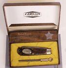 CAMILLUS BUFORD PUSSER COMMEMORATIVE KNIFE #0383 W/BOX, NARRATIVE,  SHARPENER PR