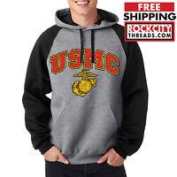 USMC MARINES RAGLAN HOODIE BLACK United States Military Pullover Sweatshirt