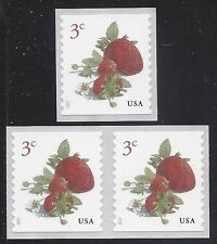 #5201 3c Strawberries Coil Single and Coil Pair 2017 Mint NH