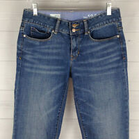 GAP Womens Size 6 LONG Stretch Blue Ripped Medium Wash Perfect Bootcut Jeans