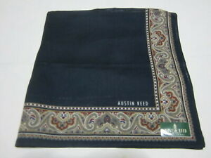 """USED AUSTIN REED BLUE SOLID  PATTERN COTTON 18"""" HANDKERCHIEF POCKET SQUARE MEN"""